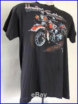 Vtg 1989 3D Emblem Harley Davidson T-Shirt Black M/L 80s 50/50 Motorcycle Biker