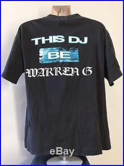 Vtg 1994 Warren G T-Shirt Black XL 90s Hip Hop Rap Rapper West Coast