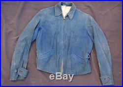 Vtg 30's BLOCK BILT sportswear California blue suede leather JACKET motorcycle