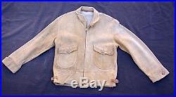 Vtg 40's deerskin buckskin suede leather talon zip JACKET waist buckle straps