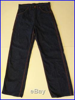Vtg 40s 50s BLUE BELL Big Ben Dungarees Dark Indigo Denim Work Pants Jeans 30×31