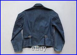 Vtg 40s 50s Dark Denim Utility Jacket Workwear Side Cinch Buckle Back Size 34
