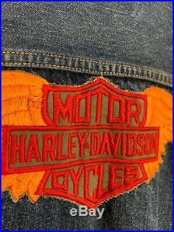 Vtg 50s Levis Type 2 Big E Dark Denim Harley Davidson Motorcycle MC Jacket