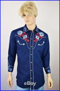 Vtg 70's H BAR C ELDORADO COLLECTION Embroidered Rhinestone RaRe Western Shirt L