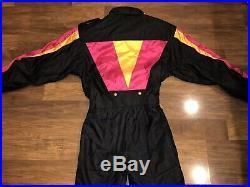 Vtg 80s 90s Black DESCENTE FDX Mens MEDIUM One Piece SKI SUIT Snow Bib Snowsuit
