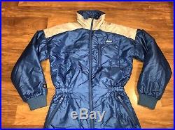 Vtg 80s 90s Blue ELLESSE One Piece SKI SUIT Snow Bib retro Snowsuit Mens SMALL
