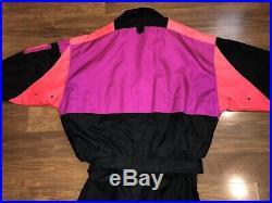 Vtg 80s 90s Neon SOLUS Mens Medium One piece SKI SUIT Snow Bib Snowsuit Gaper M