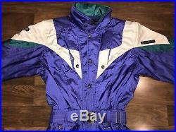 Vtg 80s 90s Purple DESCENTE Mens MEDIUM One Piece SKI SUIT Snow Bib Snowsuit M