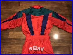 Vtg 80s 90s Red DESCENTE One Piece SKI SUIT Bib Snow Retro Snowsuit MENS LARGE