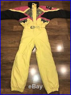 Vtg 80s 90s Yellow 5TH One piece SKI SUIT Snow Bib Retro Snowsuit MENS MEDIUM 40