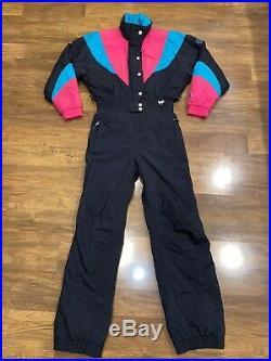 Vtg 80s Black FERA One Piece SKI SUIT Snow Bib Retro Snowsuit Gaper MENS SMALL