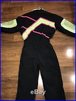 Vtg 80s Black Neon HEAD Mens MEDIUM One piece SKI SUIT Snow Bib Retro Snowsuit M