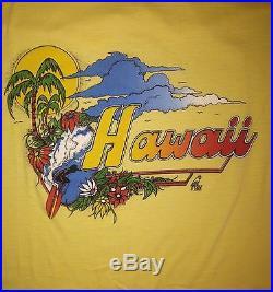 Vtg 80s HAWAII SURFER Tourist T SHIRT (L) POLY TEES Beach EUC Hawaiian Polly OG