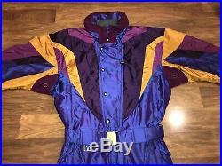 Vtg 80s Iridescent COULOIR One Piece SKI SUIT Snow Bib Snowsuit Mens MEDIUM 40