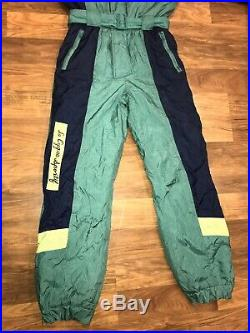 Vtg 80s Le Cygne ONE PIECE SKI SUIT Snow Bib retro Snowsuit onsie MENS MEDIUM
