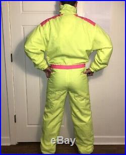 Vtg 80s NEON YELLOW Mens SMALL One piece SKI SUIT Snow Bib Retro Snowsuit Gaper