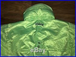 Vtg 80s Neon Green OBERMEYER Mens LARGE One Piece SKI SUIT Snow Bib Snowsuit L