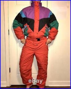 Vtg 80s RED One Piece SNOW SUIT Apres Ski Bib retro Snowsuit Gaper MENS LARGE
