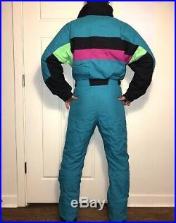 Vtg 80s Teal INSIDE EDGE One Piece SKI SUIT Snow Bib retro Snowsuit MENS MEDIUM