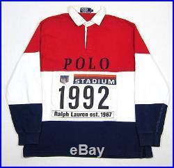 Vtg 90s Polo Ralph Lauren Stadium 1992 Plate Rugby Shirt L Sport 93 Pwing USA Og