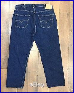 Vtg BIG E LEVIS 501XX Jeans Selvedge Edge Hidden Rivets Paper Tag Dark 40 x 29