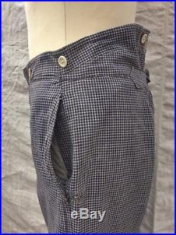 Vtg Checked Pants Edwardian Buckleback Trousers 1920's Pants Chore 1920's Work L