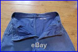 Vtg French TIMEWORN Work Pants Trousers Button Fly Chore FADED Workwear 32W