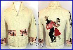 Vtg Handmade Mary Maxim Wool Cardigan Hoedown Dance Square Cowichan Rockabilly