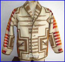 Vtg Mens Pendleton Chief Joseph Reversible Wool Indian Blanket Jacket Car Coat L