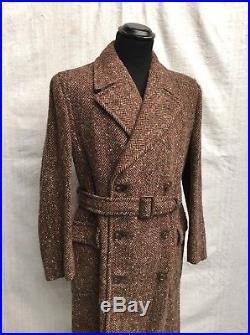 WW2 Coat Vtg 1940's Tweed Coat CC41 Vtg Overcoat Vtg Donegal Tweed Superb 38/40