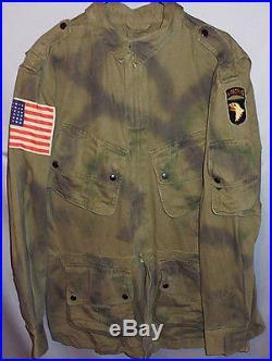 WWII- 1942 -101st Airborne- Vintage US Army Paratrooper Uniform Camo Jump Jacket