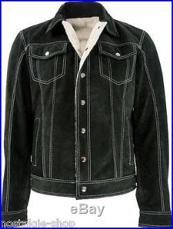 Wildleder Jeans style Lederjacke mit Fell warm wie Nubuk Leder 501 gefüttert